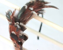 Free-range wild feather hair band. Boho head band fascinator in neutral white, amber, chocolate brown, black.  0186