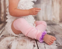 Pink and Purple Bamboo Baby Toddler Fuzzy Leg Warmers
