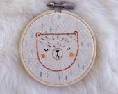 Sale - Bear embroidery, handmade bear cross stitch, bear needlework, bear needlepoint, bear wall hanging, bear nursery decor, READY TO SHIP