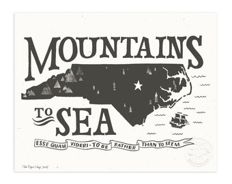 NC Mountains to Sea, Charcoal Gray Illustrated Art Print