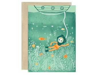 Diver Lookout Illustrated Greeting Card