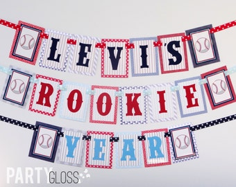 Baseball Birthday Party Banner Decorations Rookie Year Fully Assembled