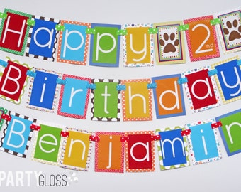 Boy Puppy Birthday Party Banner Fully Assembled Decorations