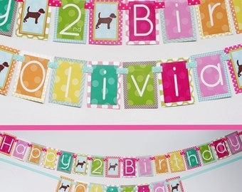 Girly Brown Puppy Birthday Party Banner Fully Assembled Decorations Doggy Diva