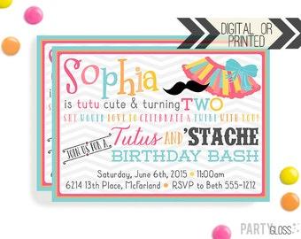 Tutu Invitation   Tutus Stache Bash Invites   Digital or Printed   Tutu Party   Tutu Mustache Printables   Tutus Mustache Bash Decorations