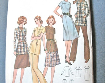 Uncut 70s Butterick 6322 Misses' Semi-fitted A-line dress or tunic has jewel neckline  Vintage Sewing Pattern  Bust 38