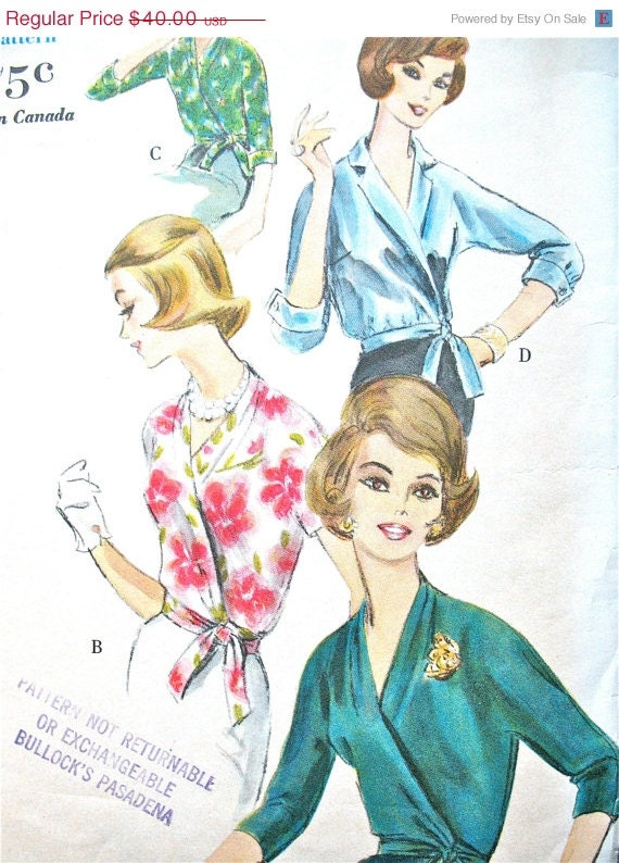 Early 60s Vogue 5222 Wrap  Blouse Vintage Sewing Pattern 1960s Wrapped Top  Bust 36 inches