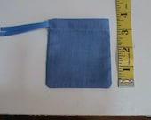 Small Medium Blue Drawstring Pouch