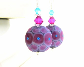 Glass Dangle Earrings, Pink Purple Turquoise Earrings, Colorful Earrings, Lampwork Earrings, Spotted Earrings, Funky Earrings Summer Jewelry