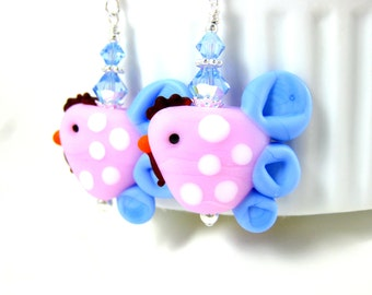 Pink Chicken Earrings, Hen Earrings, Pink Blue White Earrings, Bird Earrings, Barnyard Earrings, Funny Earrings Polka Dot Lampwork Earrings