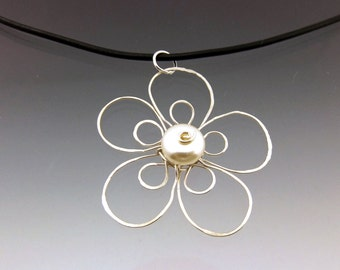 Sterling Silver Flower Necklace on Black Leather Cord