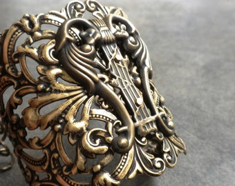 Statement Cuff Celtic Lyre Jewelry Harp Bracelet