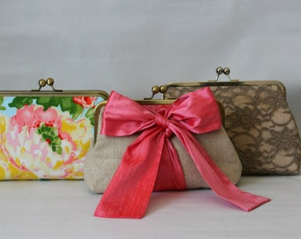 Wedding Clutches - Bridesmaids Clutches - Wedding Gifts - Bridesmaid Gifts - Pink Floral Wedding Clutches - Bridal Clutches Sets of 3 or 6