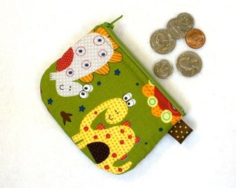 Boys Silly Dinosaur Kawaii Mini Coin Pouch Zipper Change Purse Handmade Fabric Coin Purse MTO