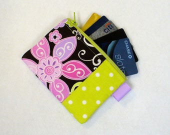 Womens Fabric Coin Purse Business Card Case Fabric Zippered Credit Card Case Michael Miller Boho Blossom Orchid Pink Lavender Mod Floral