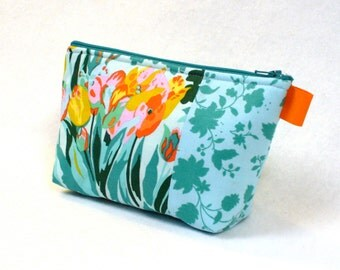 Tulips Roses Amy Butler Fabric Large Cosmetic Bag Zipper Pouch Padded Makeup Bag Cotton Zip Pouch Violette Mint Orange Pink Meadow Blooms
