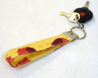 CLEARANCE SALE Wristlet Key Fob Joel Dewberry Ginseng Fabric Tossed Flowers Sand Mulberry Raspberry Floral Gold Maroon Keyring