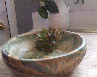 vintage handmade pottery succulent dish ~ Green Tan swirl ~ Pottery bowl