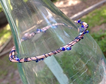 blue seed beads and hammered copper bangle bracelet - 642