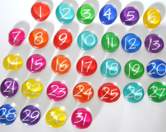 Featured listing image: LARGE - 31 number magnets or push pin calendar set, 2017 perpetual calendar, school teacher, you choose your own colors