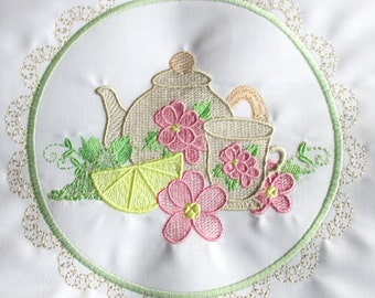 Machine Embroidery Design-Tea Time #05 with 3 sizes Included!