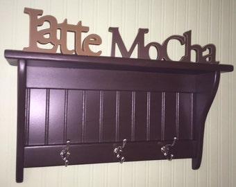 "Coat Rack Display Shelf Wood Wall Shelf Country Coat Rack 24"" Wide Satin ChromeHooks Espresso Key Holder"