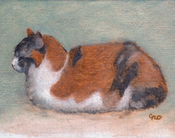 Kitty Boat - Blank Card of Original Calico Cat Painting by Nancy Cuevas
