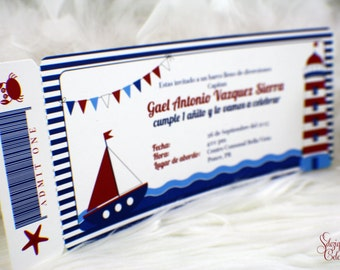 Nautical Boarding Pass Invitations