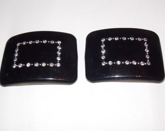 Black and Rhinestone Tiptoe Shoe Clips