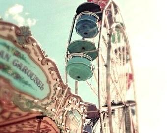 """Summer fair carnival photo ferris wheel carousel blue turquoise summer - """"Carousel dreams""""  5 x 5"""