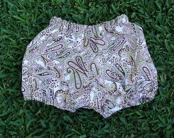 Hippie Babies Bloomers - pants -Blue Paisley- size 6 to 9 months-Boys or Girls-read measurements