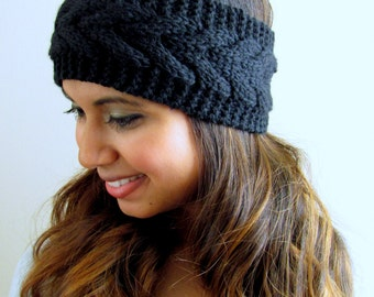 Black Knit Headband Thick Ear warmer Arrow Chevron HeadBand Handmade Head Wrap Bohemian Earwarmer Winter Headband FLASH SALE Choose Color