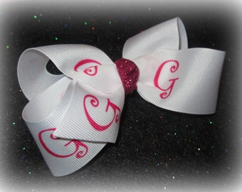 Monogrammed Single Layer Loopy Hair Bows with Tail Chunky Bow You choose Initial and Glitter Knot Monogram Letter Name Personlized Sparkle