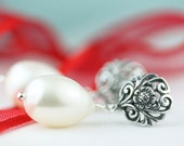 Pearl Drop, Post Earrings, Silver Filigree Stud Earrings with Large White Freshwater Pearl Drop, Wedding, by art4ear, free shipping Canada