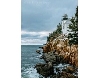 Bass Harbor Lighthouse, 5x7 Print, Landscape Photography, Lighthouse Photography, New England Art, Coastal Decor, Architecture Photography