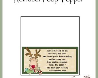 Reindeer Poop Topper - Digital Printable - Great Gag Gift or Craft Show Item - Immediate Download