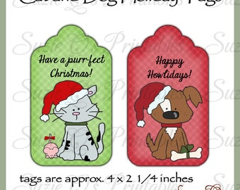 Cat and Dog Holiday Tags - CU Digital Printable - Immediate Download
