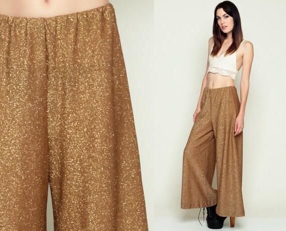 PALAZZO Pants Wide Leg Pants 70s Bell Bottom GOLD METALLIC