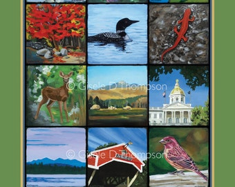 The Granite State NH Poster 11x17 print fall, icons of NH