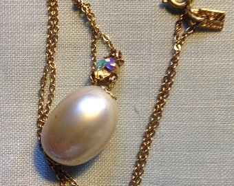 HALF PRICE SALE Emmons Pearl and  Ab Rhinestone Pendant on 16 Inch Chain Gift Box Vintage.