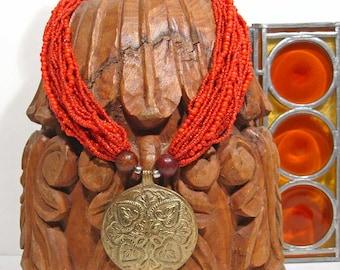 Vintage Bead Necklace Orange Multi Strand Brass Pendant