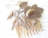Golden Ox Brass Cabbage Rose Hair Comb - Rose Leaf Gold Hair Comb - Rose Blossom - Wedding Hair - Bridal Hair