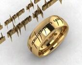 Custom Engraved Tengwar Ring Band,  Ladies Tengwar Jewelry, Elvish Ring  Personalized 6 mm Band