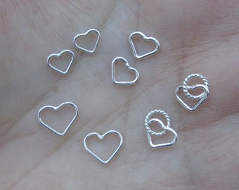 Sterling Silver small Heart Links(You Choose the size and Quantity)