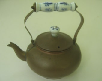 Vintage Copper Teapot Kettle with Delft Ceramic Handle