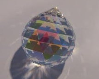 1 - 40mm AB Chandelier Crystal Ball Chandelier Prisms - Iridescent FULL Lead Crystal Faceted Ball (S-18)