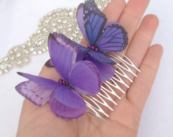 Silk Butterfly hair comb with Swarovski Crystals, ideal for Wedding or Prom. Purple Monarch.