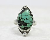 Turquoise ring in sterling silver in a custom size with genuine turquoise, handmade by lotusstone