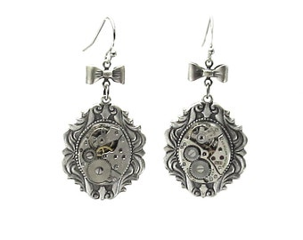 Steampunk Earrings - Immortal Beloved - Striking Steampunk Cameo Earrings with Vintage Watch Movements and Bow Accents