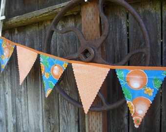 Oilcloth Banner-Oranges and Orange Gingham, 10 Banners, 9 feet long
